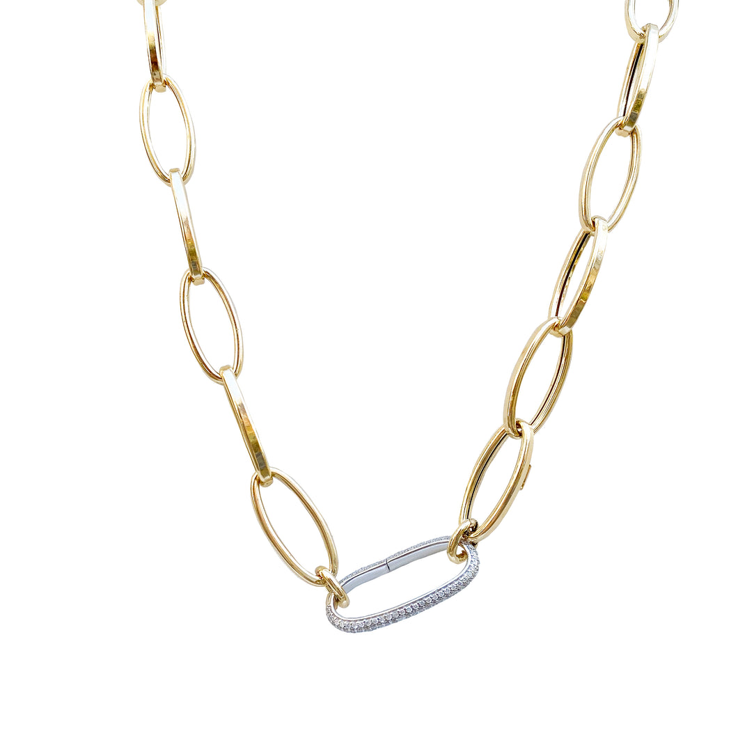 14kg Large Link Necklace with One Diamond Link