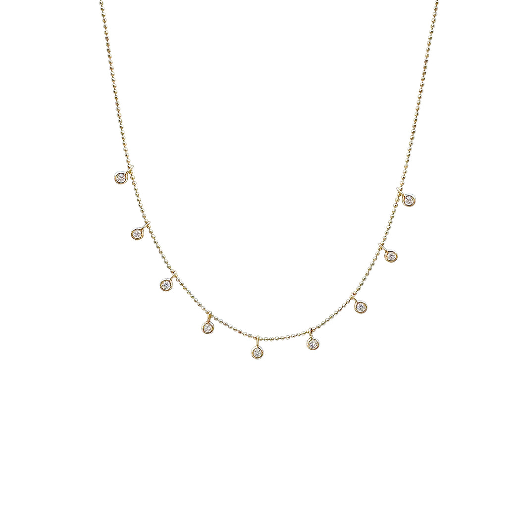 14kg Gold and Diamond Drop Necklace
