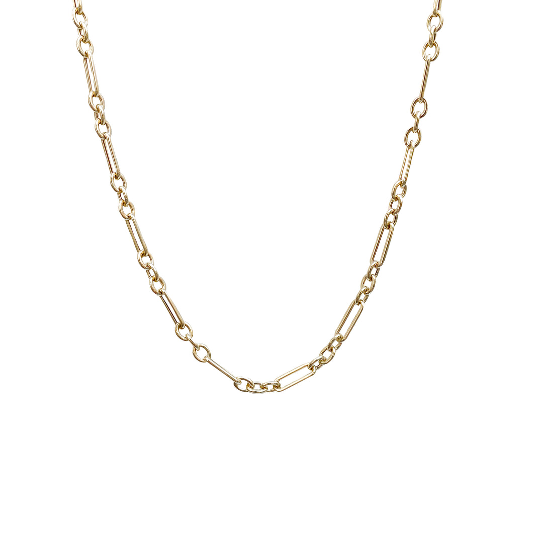 14kg Gold Paper Link and Rolo Chain Necklace
