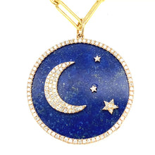 Load and play video in Gallery viewer, 14kg White Diamond and Blue Lapis Celestial Disc Pendant