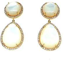 Load and play video in Gallery viewer, 14kg Mother of Pearl and White Diamond Earrings