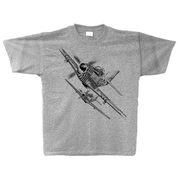 P-51 Mustang Sketch Adult T-shirt