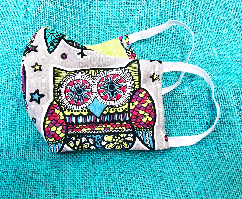 Face Mask With Filter Pocket (Owl Print) - Free Shipping