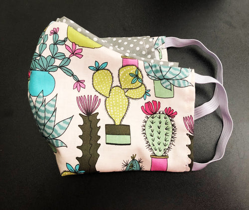 Face Mask With Filter Pocket (Cactus 2 Print) - Free Shipping
