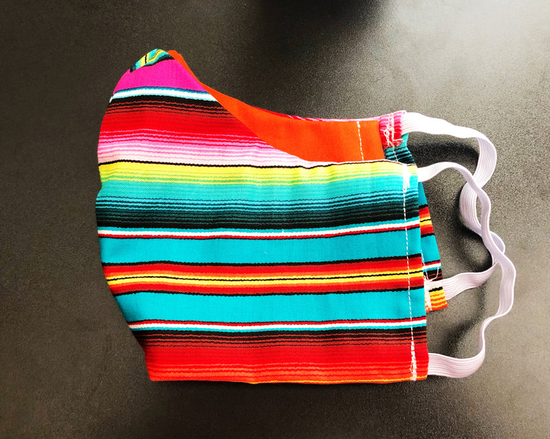 Face Mask With Filter Pocket (Turquoise Serape) - Free Shipping