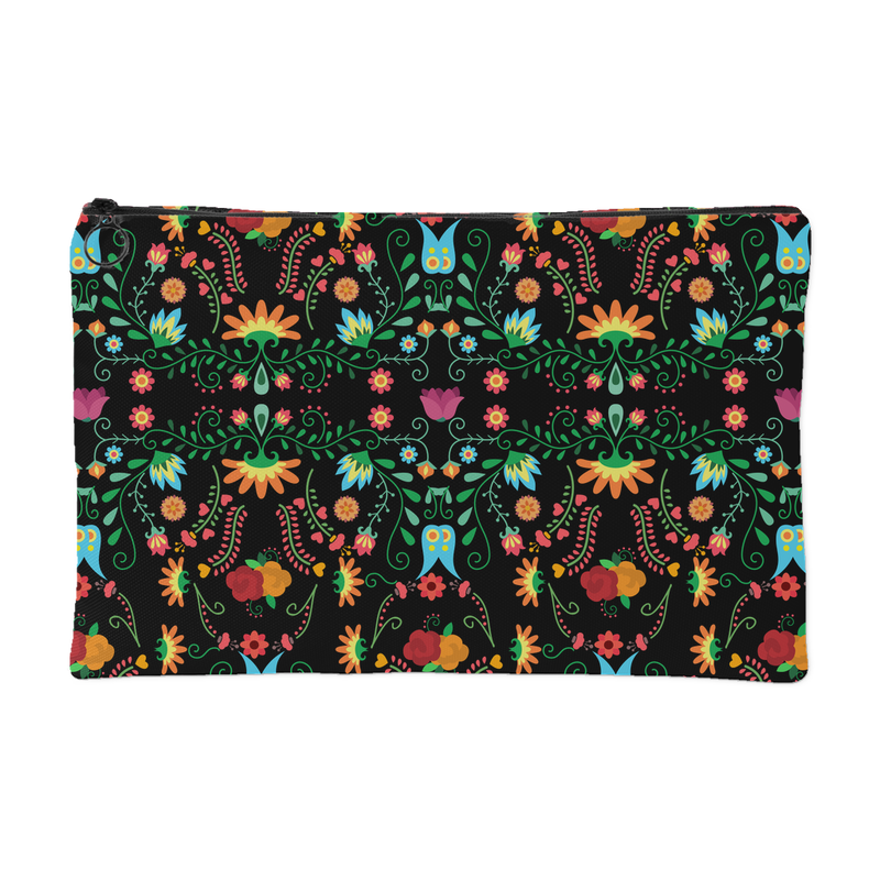 Mexican Flower Pattern Accessory Pouch