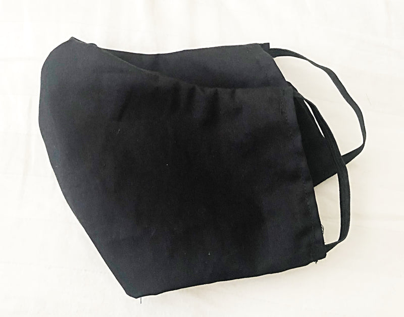 Face Mask With Filter Pocket (Solid Black) - Free Shipping