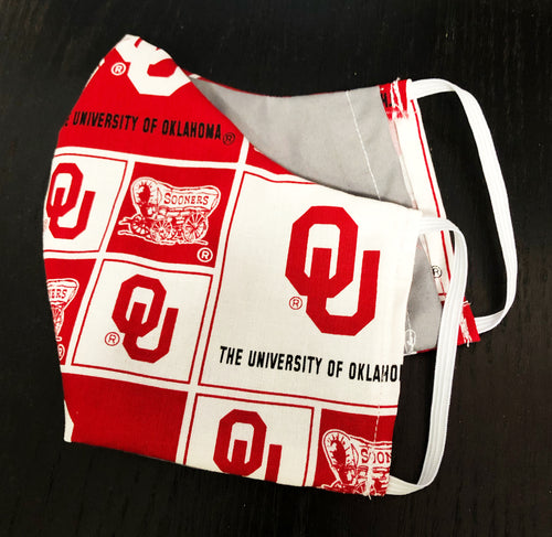 OU Face Masks With Filter Pocket - Free Shipping