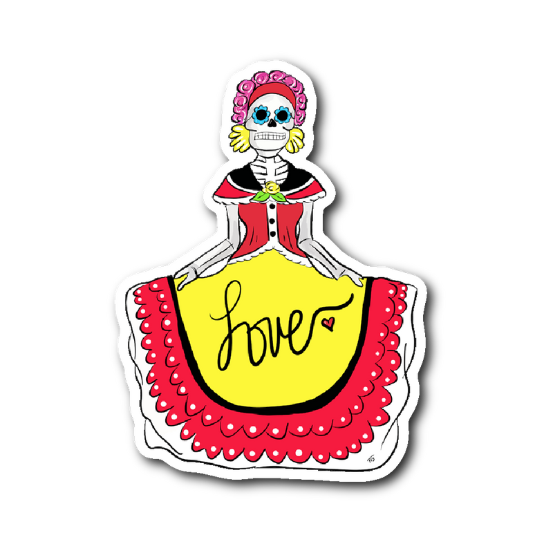 Folklorico Skeleton Dancer Sticker