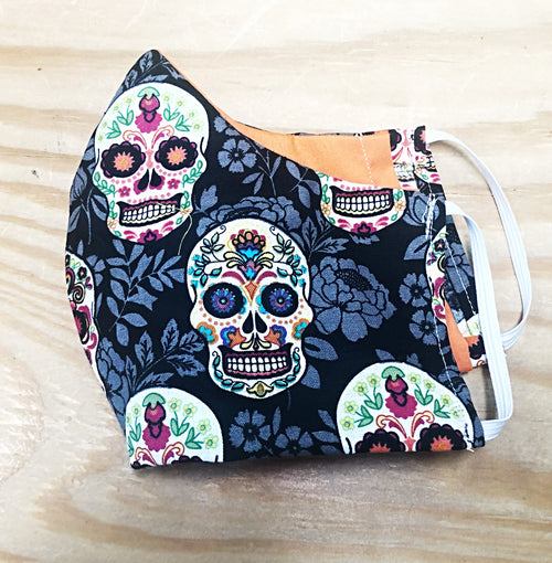 Face Mask With Filter Pocket (Sugar Skull)- Free Shipping