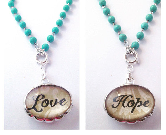 Love Necklace | Word Jewelry | Inspirational Pendant