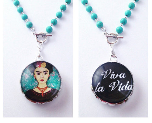 Frida Kahlo Necklace | Folk Art Jewelry | Mixed Media Art