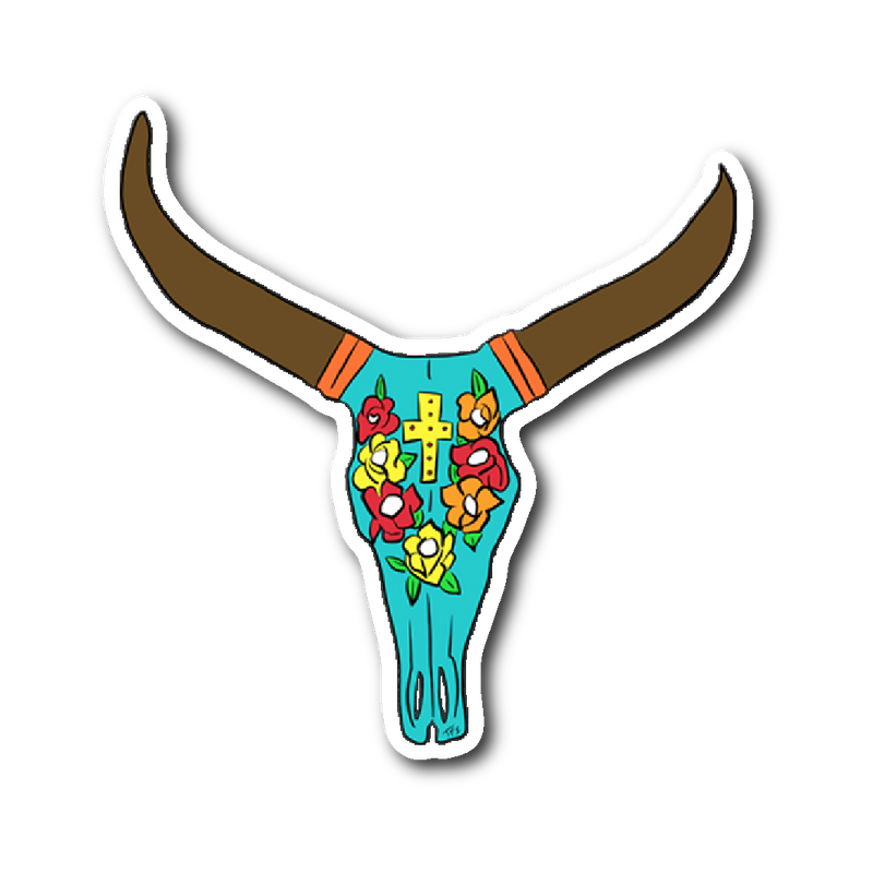 Boho Cow Skull Sticker