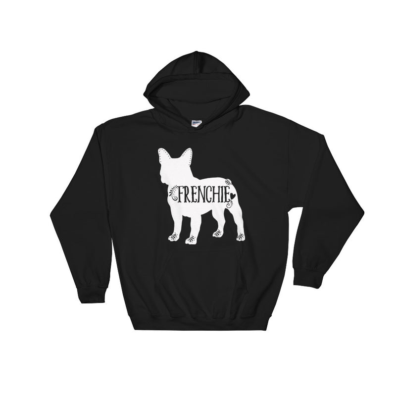 French Bulldog, Frenchie Hooded Sweatshirt (White Design)