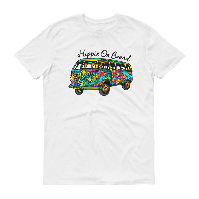Hippie On Board Colored Graphic Short Sleeve T-Shirt