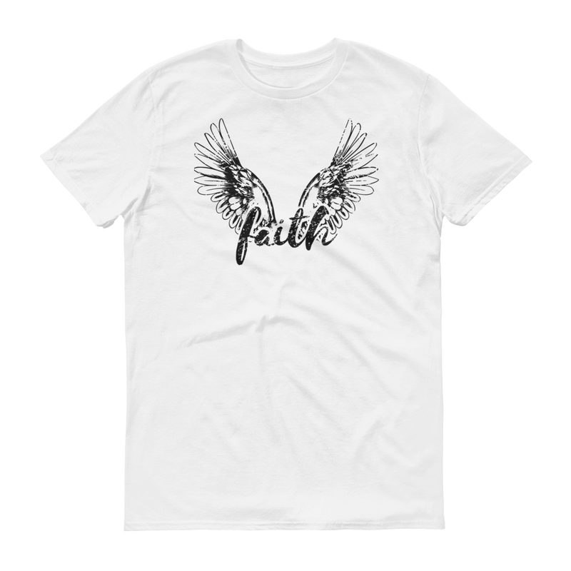 Faith Angel Wings Black Graphic Short Sleeve T-Shirt