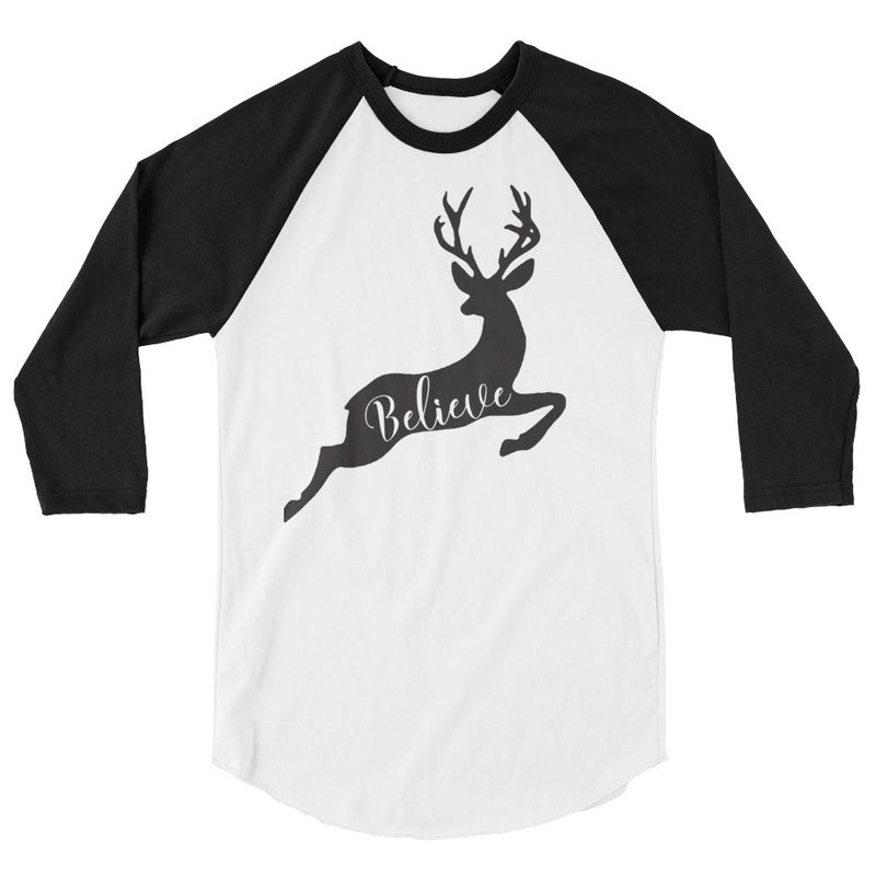Believe Christmas Deer 3/4 Sleeve Raglan Shirt
