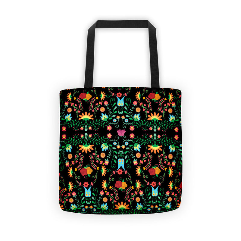 Mexican Flower Pattern Tote Bag