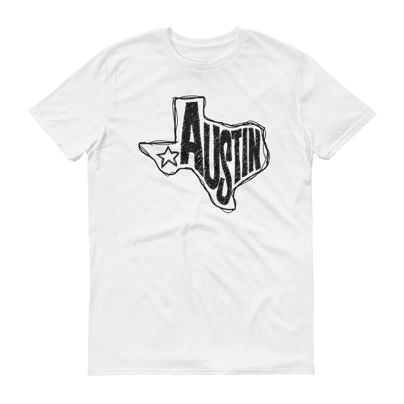 Austin, Texas Short Sleeve T-Shirt (Black Graphic)