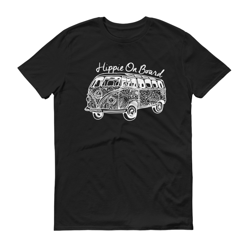 Hippie On Board White Graphic Short Sleeve T-Shirt