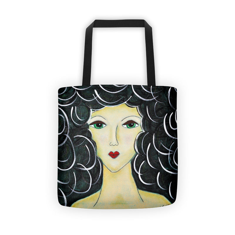 Curl Hair Girl Tote Bag