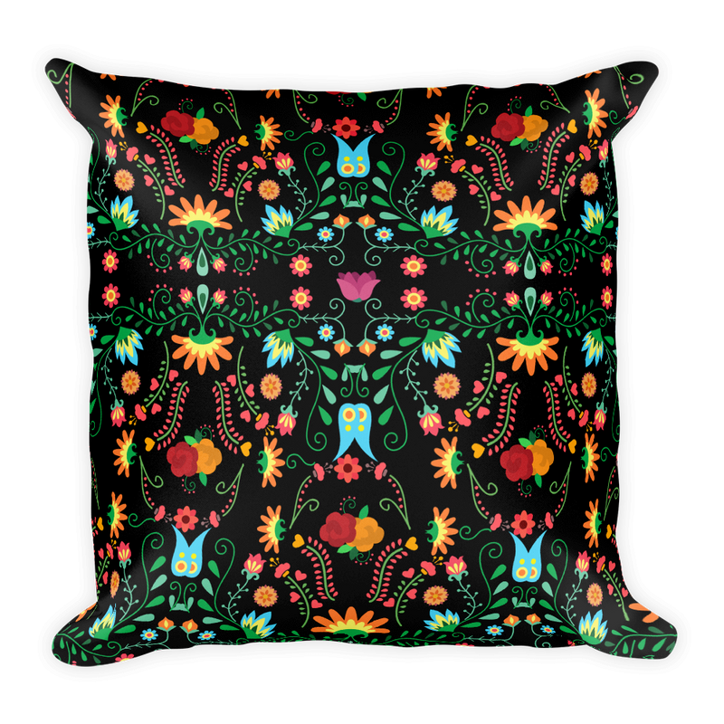 Mexican Flower Pattern Square Pillow