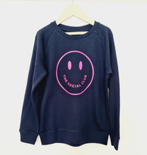 Load image into Gallery viewer, KIDS FRENCH NAVY & NEON PINK TSC SMILEY UNISEX SWEATSHIRT