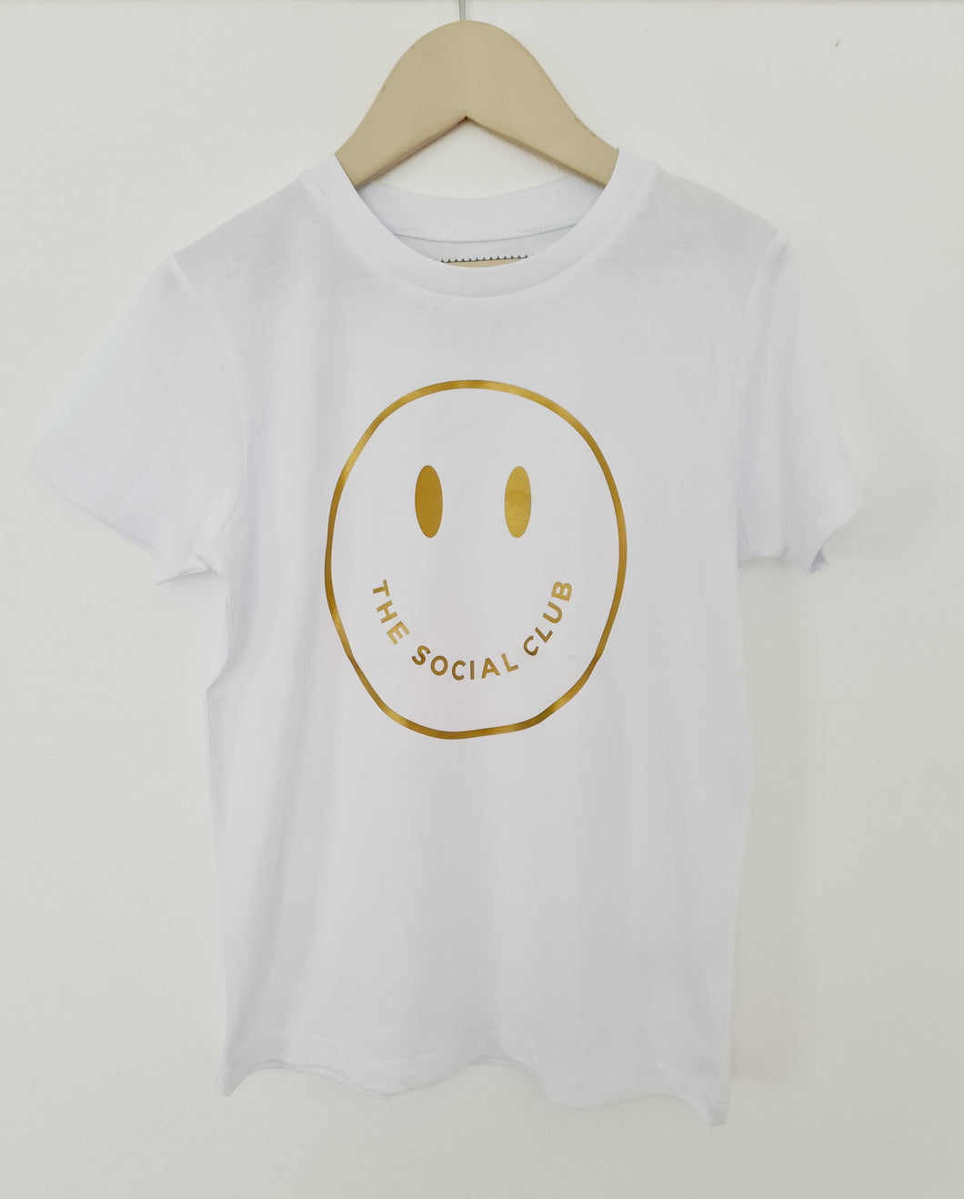 KIDS WHITE & GOLD TSC SMILEY UNISEX SHORT SLEEVE TEE