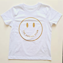Load image into Gallery viewer, KIDS WHITE & GOLD TSC SMILEY UNISEX SHORT SLEEVE TEE