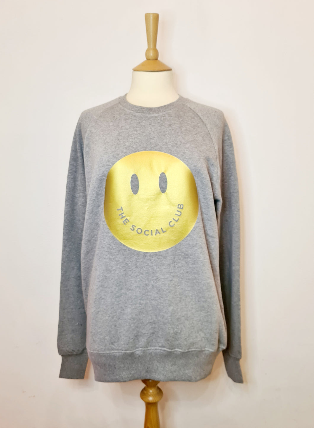 Adults Grey & Gold Smiley Sweat
