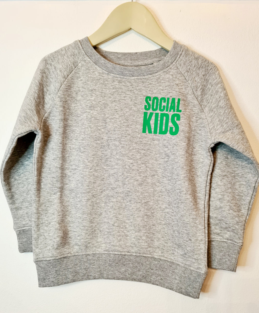 KIDS SOCIAL GREY & GREEN SWEATSHIRT