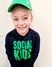 Load image into Gallery viewer, SOCIAL KIDS NAVY & GREEN SWEATSHIRT