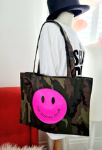 Load image into Gallery viewer, SOLID NEON PINK SMILEY SHOPPER