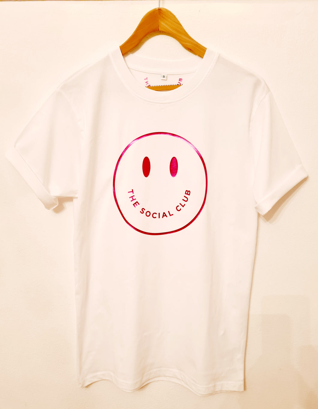 ADULT WHITE TSC METALLIC PINK SMILEY T-SHIRT
