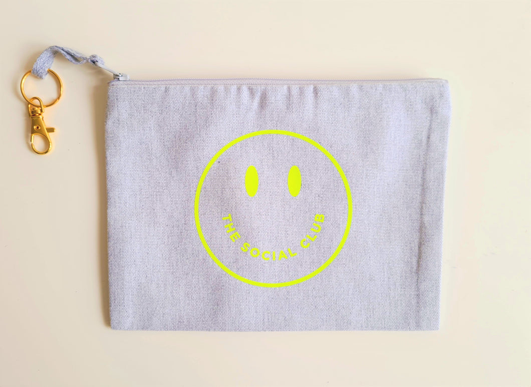 TSC GREY & NEON YELLOW SMILEY POUCH