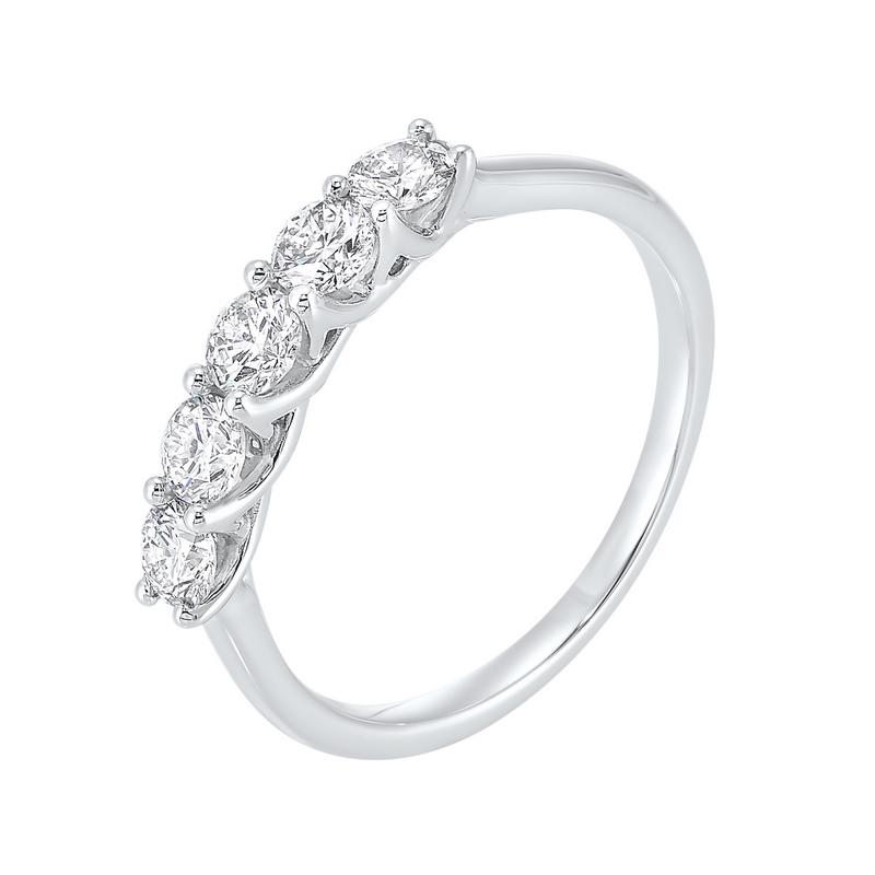 5 Stone Shared Prong Diamond Band 14K White Gold (3/4 ct. tw.)