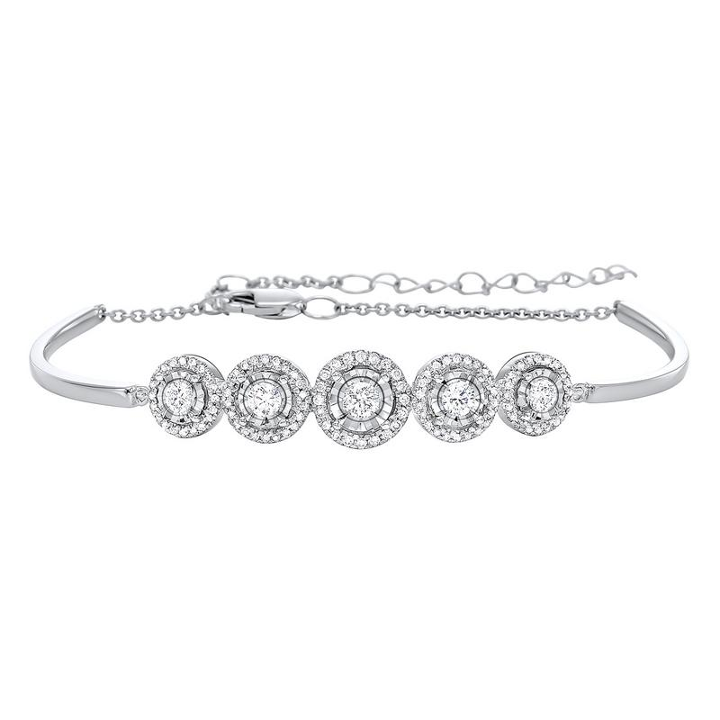 Tru Reflections Prong Set Diamond Bangle in 14K White Gold (1 1/2 ct. tw.)