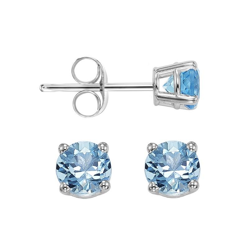 Four Prong Blue Topaz Studs in 14K White Gold (3 MM)