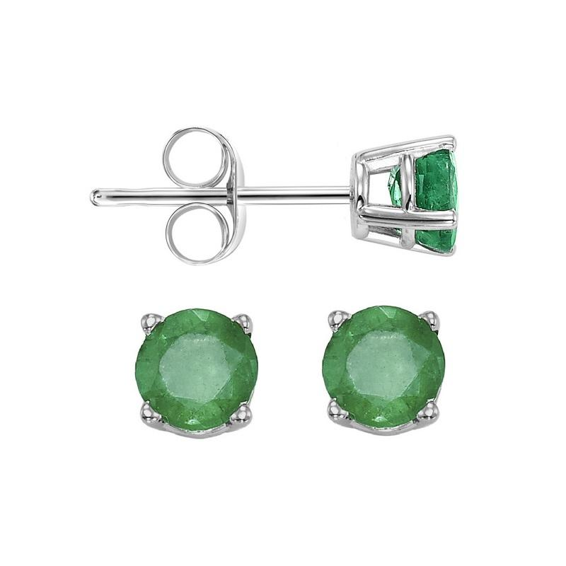 Four Prong Emerald Studs in 14K White Gold (3 MM)