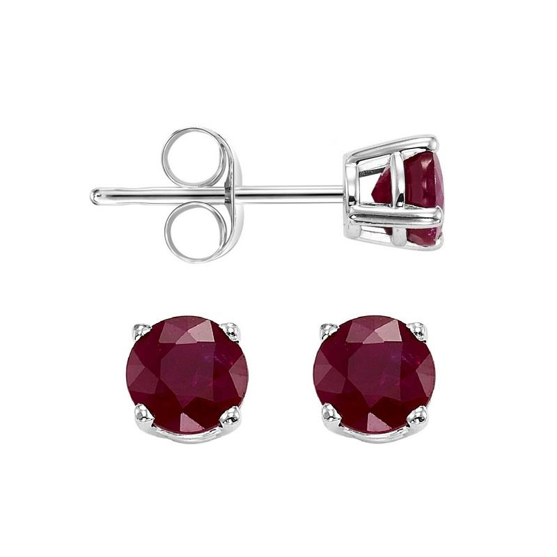 Four Prong Garnet Studs in 14K White Gold (3 MM)