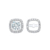 Micro Prong Diamond Halo Jacket Earrings in 14K White Gold (1/4 ct. tw.)