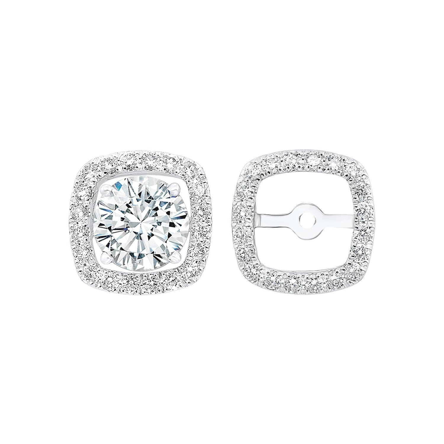 Micro Prong Diamond Halo Jacket Earrings in 14K White Gold (1/3 ct. tw.)