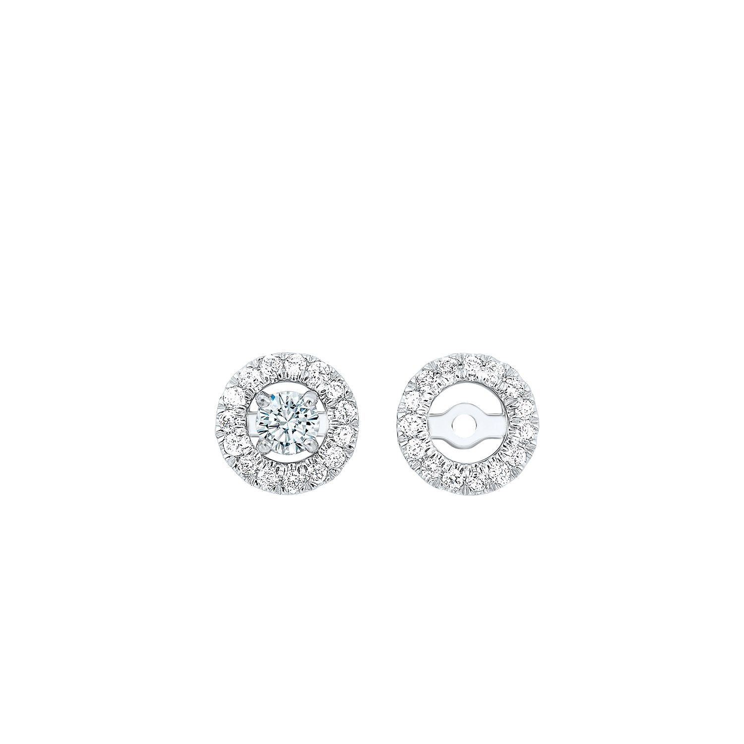 Micro Prong Diamond Halo Jacket Earrings in 14K White Gold (1/7 ct. tw.)
