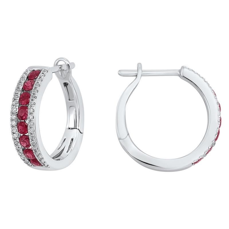 3 Row Channel Set Ruby Earrings in 14K White Gold (1/5 ct. tw.)