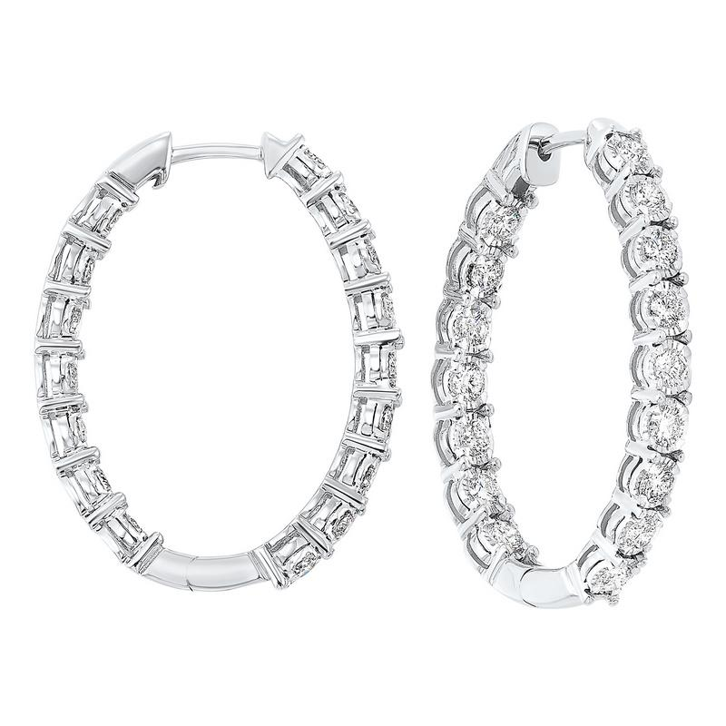 Tru Reflections Prong Set Oval In-Out Diamond Hoops in 14K White Gold (1 ct. tw.)