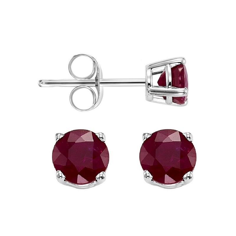 Four Prong Ruby Studs in 14K White Gold (5 MM)