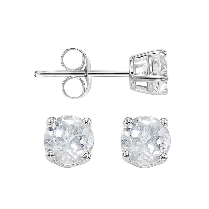 Four Prong White Topaz Studs in 14K White Gold (5 MM)