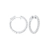 In-Out Prong Set Diamond Hoop Earrings in 14K White Gold  (2 ct. tw.)