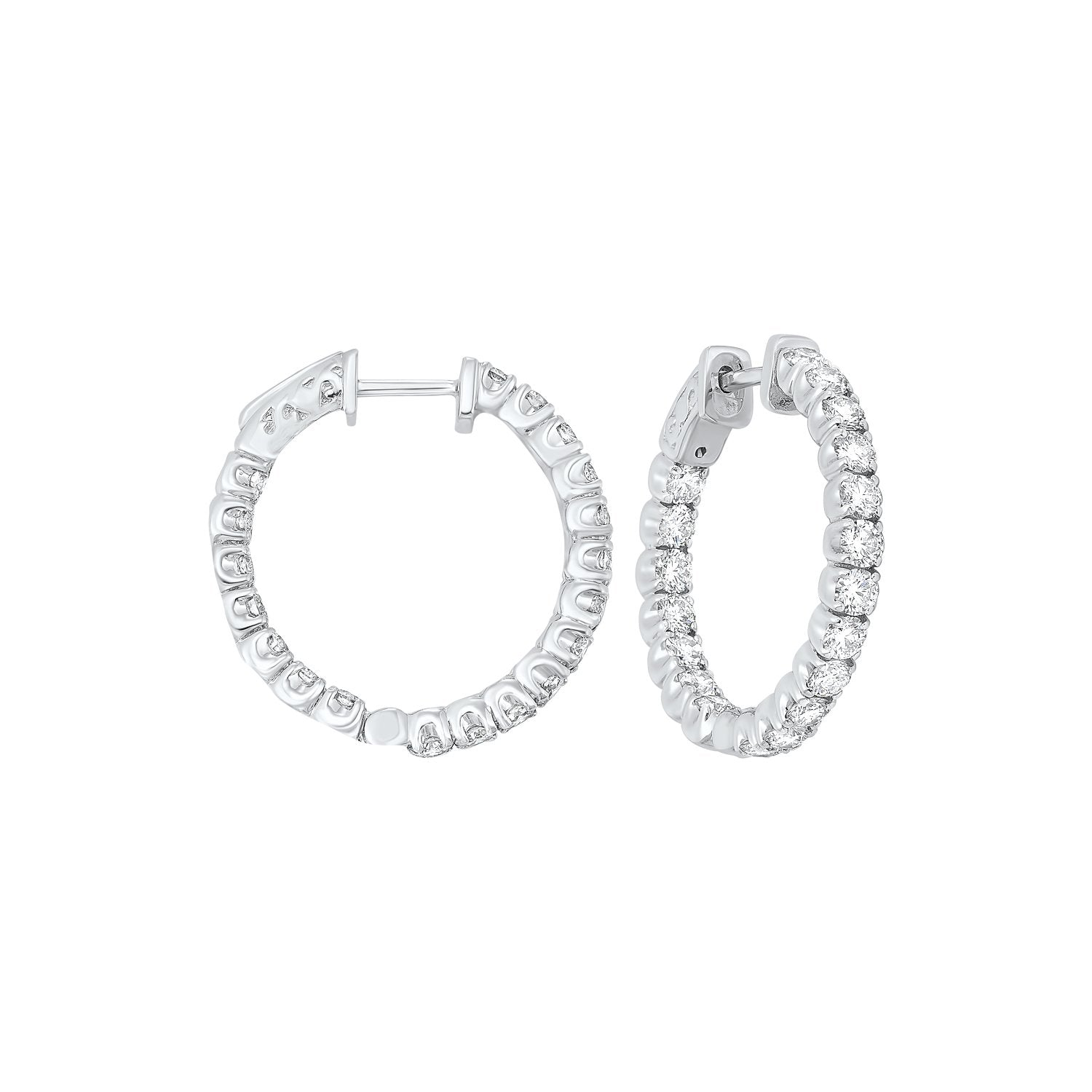 In-Out Prong Set Diamond Hoop Earrings in 14K White Gold  (3 ct. tw.)
