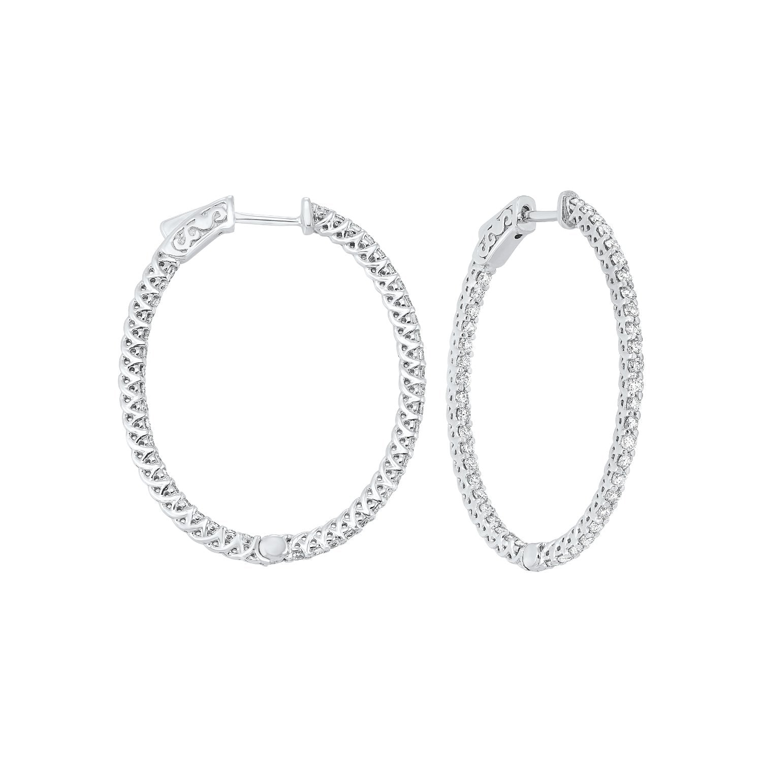 Delicate In-Out Diamond Hoop Earrings in 14K White Gold  (2 ct. tw.)